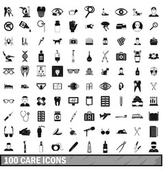 100 care icons set simple style vector