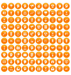 100 idea icons set orange vector