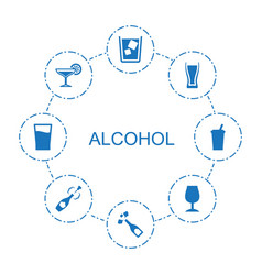 8 alcohol icons vector image
