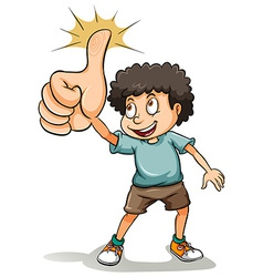 A boy showing his thumb vector image