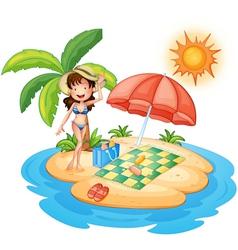 A girl at beach under scorching heat of vector