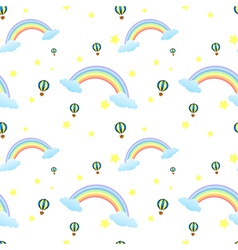 A seamless design with rainbows and floating vector image