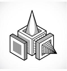 Abstract construction dimensional design vector
