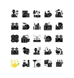 Agriculture related black glyph icons set on vector