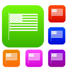 American flag set collection vector