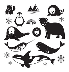 Arctic animals silhouette set vector