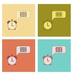 Assembly flat icons book alarm clock vector