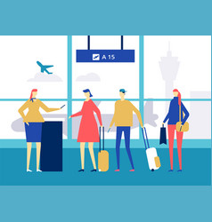 at the airport - flat design style colorful vector image