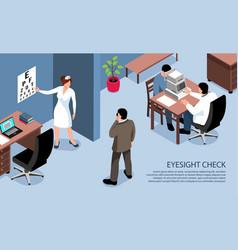 Blind eyesight check banner vector