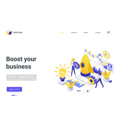 boost your business isometric landing page vector image