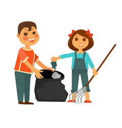 boy and girl take away rubbish isolated vector image