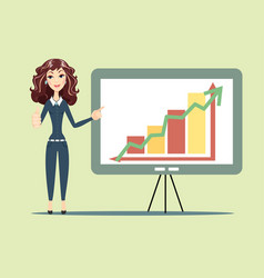 Business woman standing with strategy presentation vector