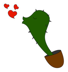 cactus in love on white background vector image