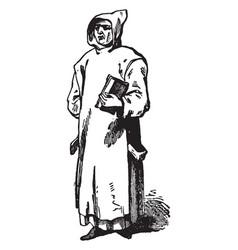 Carthusian was a monk vintage engraving vector