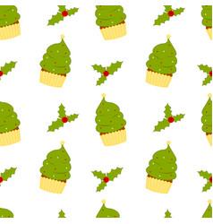 cartoon christmas tree cupcake with mistletoe seam vector image