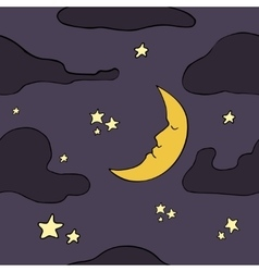 Cartoon seamless night pattern vector image