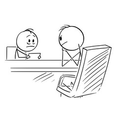 Cartoon timid man on interview or employee vector