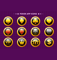 casino and poker golden app icon glossy objects vector image