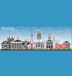 charleston south carolina skyline with gray vector image vector image