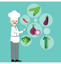 chef character cartoon with hat and vegetables vector image