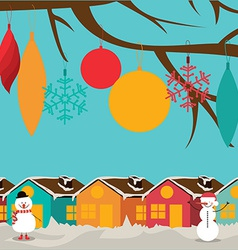 Christmas design over landscape background vector image