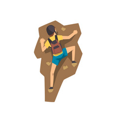 Climber in protective helmet climbing rock vector