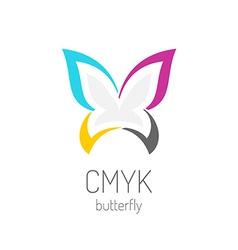 CMYK butterfly logo template vector