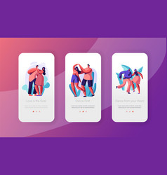 Couple dance together mobile app page screen set vector