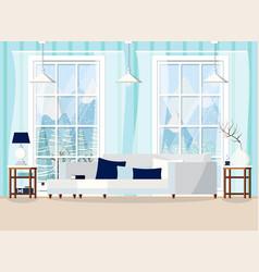 Cozy living room home interior scene vector