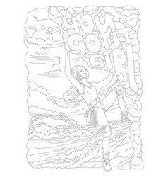 cute hand draw coloring page with brave climbing vector image