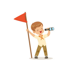 Cute little boy in scout costume with red flag vector