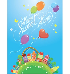 Decorative colorful houses trees rainbow vector image