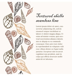 Doodle textured shells seamless line background vector