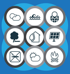ecology icons set with cloudy weather water vector image
