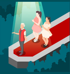 fashion show isometric composition vector image