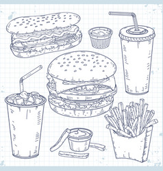 fast food doodle set hamburger hot dog drinks vector image