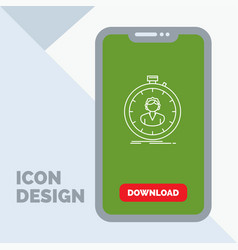 Fast speed stopwatch timer girl line icon in vector