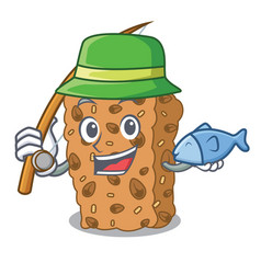 Fishing granola bar mascot cartoon vector