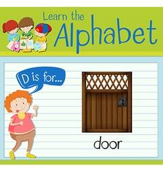 Flashcard alphabet D is for door vector image