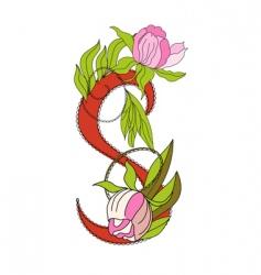 floral font 2 letter s vector image