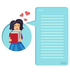 Girl hugging books vector