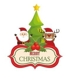 greeting card merry christmas santa reindeer and vector image