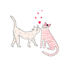 Greeting card with cats and hearts vector