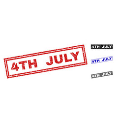 Grunge 4th july textured rectangle watermarks vector