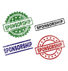 Grunge textured sponsorship seal stamps vector