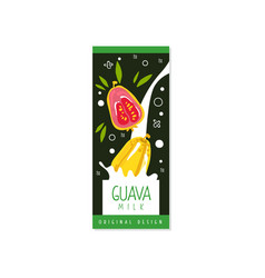 Guava milk logo original design label for natural vector