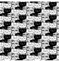 hand drawn cats pattern vector image