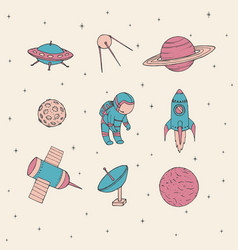 hand drawn space cosmonaut satellites rocket ufo vector image