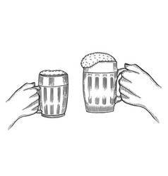 Hand holding a full glass of beer vector
