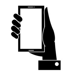 Hand with smartphone device vector